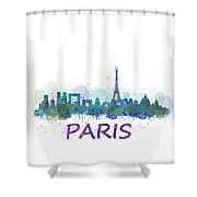Paris City Skyline Hq Watercolor V3 Shower Curtain
