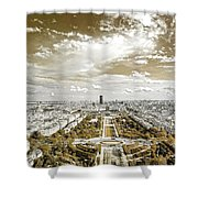 Paris City View 20 Sepia Shower Curtain