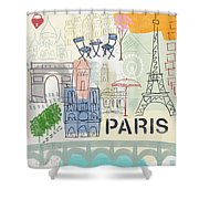 Paris Cityscape- Art By Linda Woods Shower Curtain by Linda Woods