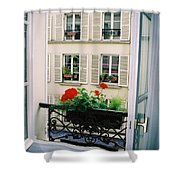 Paris Day Windowbox Shower Curtain