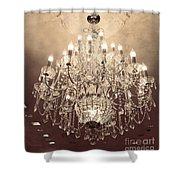 Paris Dreamy Golden Sepia Sparkling Elegant Opulent Chandelier Fine Art Shower Curtain by Kathy Fornal