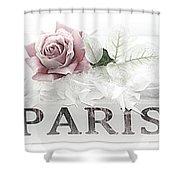 Paris Dreamy Pastel Pink Roses On Paris Book - Romantic Paris Roses And Books Shabby Chic Art Shower Curtain