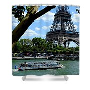Paris Eiffel Boat Shower Curtain
