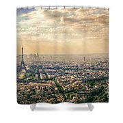 Paris Eiffel Skyline And Cityscape Aerial View At Sunset From Montparnasse Tower Observation Deck  Shower Curtain