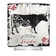 Paris Farm Sign Cow Shower Curtain