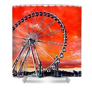 Paris Ferris Wheel Pop Art 2012 Shower Curtain