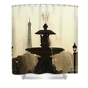 Paris Fountain In Sepia Shower Curtain