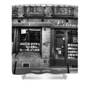 Paris France Book Store Library Black And White Shower Curtain