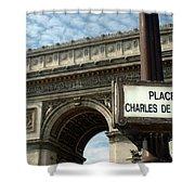 Paris France. Larc De Triomphe On Place Charles De Gaulle Shower Curtain