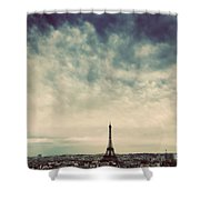Paris, France Skyline With Eiffel Tower. Dark Clouds, Vintage Shower Curtain