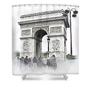 Paris, France  Triumphal Arch  Illustration Shower Curtain