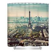Paris, France Vintage Skyline, Panorama. Eiffel Tower, Champ De Mars Shower Curtain