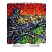 Paris Gargoyle Contemplation Textural Impressionist Stylized Cityscape Shower Curtain