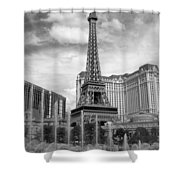 Paris Hotel - Las Vegas B-w Shower Curtain