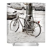 Paris In Snow Shower Curtain