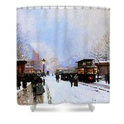 Paris In Winter Shower Curtain by Luigi Loir