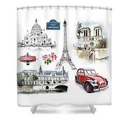 Paris Landmarks. Illustration In Draw, Sketch Style.  Shower Curtain