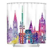 Amsterdam Landmarks Watercolor Poster Shower Curtain