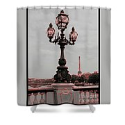 Paris Luminaires And Eiffel Tower Shower Curtain