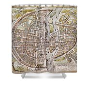 Paris Map, 1581 Shower Curtain