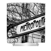 Paris Metro Sign Bw Shower Curtain