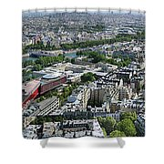 Paris Panorama From The Eiffel Tower Shower Curtain