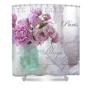 Paris Peonies - Parisian Pink Peonies Pink Aqua French Decor - Paris Floral Wall Art Home Decor  Shower Curtain