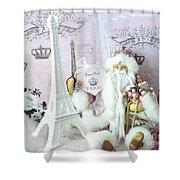 Paris Shabby Chic Holiday Santa - Paris Pink Santa Claus Joyeux Noel - Pink Santa Eiffel Tower Print Shower Curtain