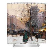 Paris, Porte Saint Denis In Winter Shower Curtain