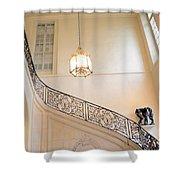 Paris Rodin Museum Staircase - Rod Iron Black Staircase Archictecture - Paris Museum Staircase Print Shower Curtain
