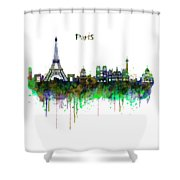 Paris Skyline Watercolor Shower Curtain
