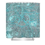 Paris Traffic Abstract Blue Map Shower Curtain