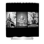 Paris Triptych Shower Curtain