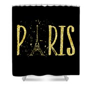 Paris Typografie - Gold Splashes Shower Curtain