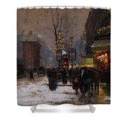 Paris Winter Scene Shower Curtain
