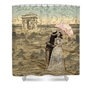 Paris With A Kiss Photo Collage Shower Curtain