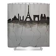Parisian Skyline Silhouette Shower Curtain