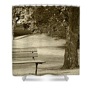 Park Bench In A Park Shower Curtain