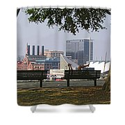 Park Bench Reading Shower Curtain