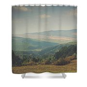Park Bench Series - Misty Mountains Shower Curtain