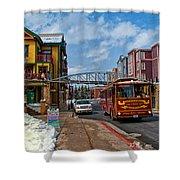 Park City Trolley Car Shower Curtain