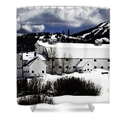 Park City White Barn Shower Curtain by La Rae  Roberts