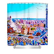 Park Guell Watercolor Painting Shower Curtain