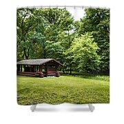 Park Shelter In Lush Forest Landscape Shower Curtain