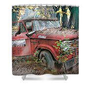 Parked On A Country Road Watercolors Painting Shower Curtain
