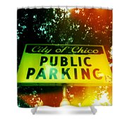 Parking Sign Shower Curtain
