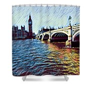 Parliament Across The Thames Shower Curtain
