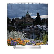 Parliament Building In Victoria At Dusk Shower Curtain