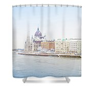 parliament in  Budapest Shower Curtain