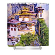Paro Taktsang Monastery Bhutan Shower Curtain